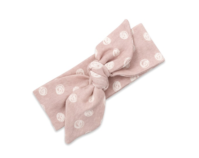 WHOLESALE Ships 1/15/19, Baby Girl Headband, Newborn Girl Pink Headband, Infant Baby Bow Headband, Pink Polkadot Baby Bow, Floral TesaBabe