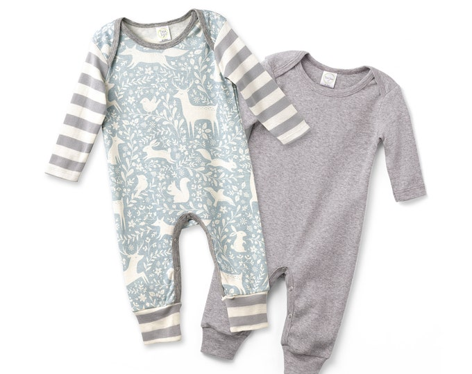Newborn Rompers Grey and Woodland Animal Set of 2, Newborn Take Home Outfit, Baby Boy Clothes, Baby Boys Outfit, Tesa Babe
