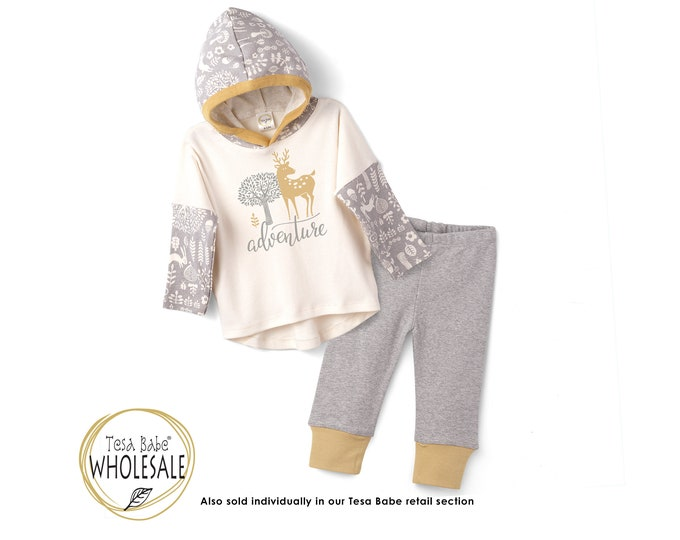 WHOLESALE Baby Hoodie Outfit, Fall Forest Animals Baby Hoodie Romper, Long Sleeve Hooded Romper, Baby Hoodie, Thanksgiving Baby Tesa Babe