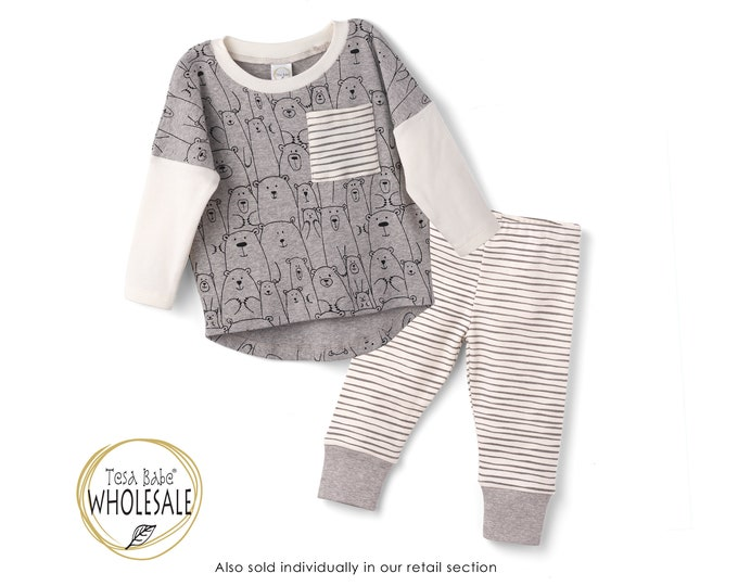 WHOLESALE Baby Boy Outfit, Baby Boy Bear Top Bottom Long Sleeve Outfit, Baby Boy Leggings, Newborn Boy Outfit, Infant Boy Summer, TesaBabe