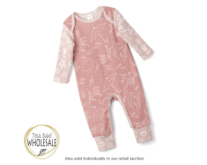 WHOLESALE Baby Pink Onesie Outfit, Newborn Baby Girl Outfit, Garden Animals Baby Romper, Infant Girl Baby Romper, Bird Onesie, Tesa Babe