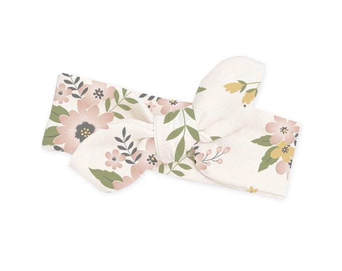 Newborn Girl Headband, Infant Baby Bow Headband, Pink Toddler Headbands, Floral Baby Girl Bow, Flowers, Baby Girl Bow Headband, TesaBabe