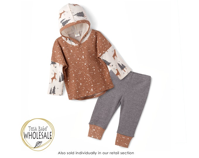 WHOLESALE Baby Boy Hoodie Outfit, Winter Toddler Hooded Outfit, Baby Boy Leggings, Newborn, Woodland Animals, Infant Boy Autumn, TesaBabe