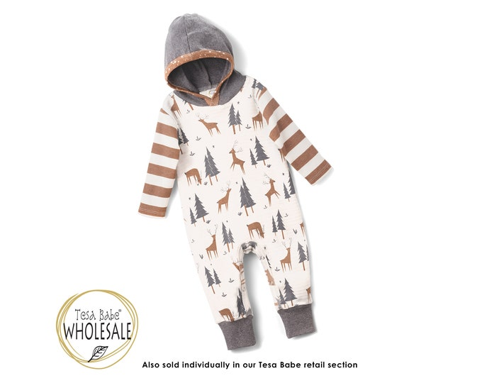 WHOLESALE Autumn Baby Outfit, Baby Hoodie Romper, Woodland Hooded Romper, Winter Infant Baby Hoodie Toddler, Holiday, Christmas Tesa Babe