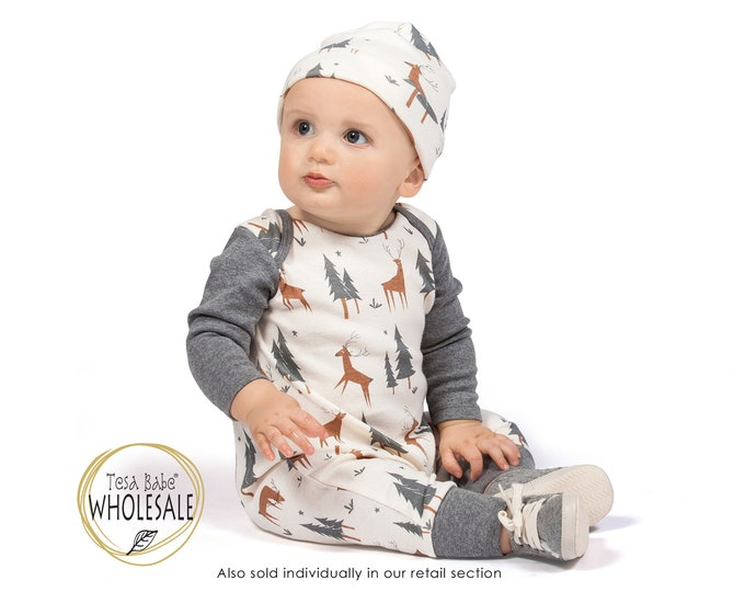 WHOLESALE Baby, Christmas Baby Romper, Thanksgiving Baby Coming Home Outfit, Baby Long Sleeve Forest Animals Romper, Baby Outfit, Tesa Babe