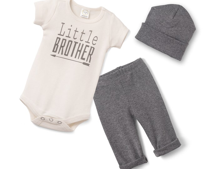 Newborn Boy Coming Home Outfit, Baby Brother Romper Outfit, Infant Boy Take Home Set, Hospital Little Brother Outfit, Toddler, TesaBabe