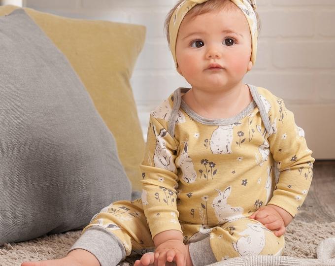 Baby Easter Onesie, Newborn Girl Romper, Infant Girl Baby Romper, Easter Bunny Outfit, Easter Onesie, Yellow, Tesa Babe