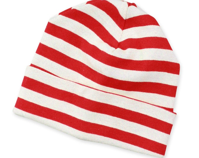 Baby Christmas Holiday Xmas Hat Beanie Cap Red White Stripe, Baby Girl Boy Christmas Hat Festive Stripe, Baby Red and White Stripe Beanie