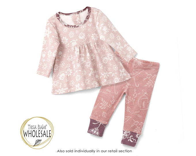 WHOLESALE Baby Girl Outfit, Baby Girl Pink Top Bottom Long Sleeve Outfit, Baby Girl Leggings, Newborn Girl Outfit, Baby Girl Set TesaBabe