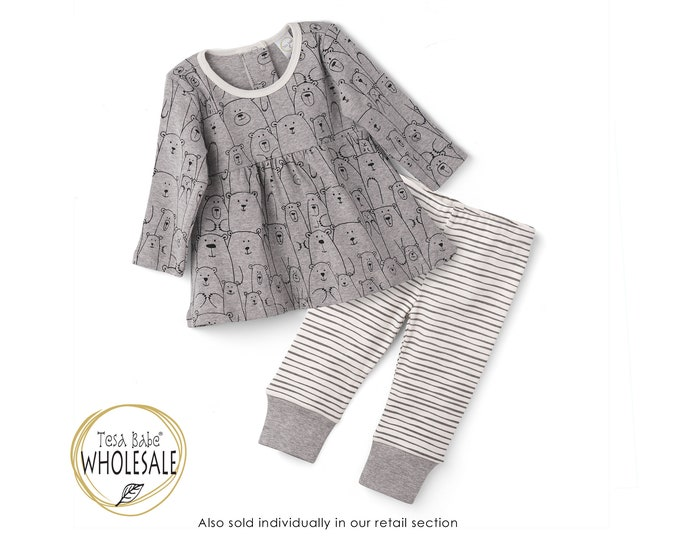 WHOLESALE Baby Outfit, Baby Girl Bear Top Bottom Long Sleeve Outfit, Baby Girl Leggings, Newborn Girl Outfit, Bear, Infant Girl TesaBabe