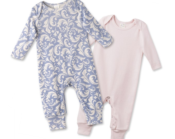 SALE Newborn Romper Blush and Blue Rose Set of 2, Newborn Take Home Outfit, Baby Girls Clothes, Baby Clothes, Baby Girl Clothes, Tesa Babe