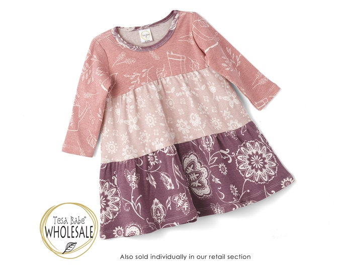 WHOLESALE Baby Dress, Baby Girl Dress, Baby 3-Tier Dress, Toddler Fall Dress, Thanksgiving Baby Dress, Baby Girl Dress Long Sleeve TesaBabe