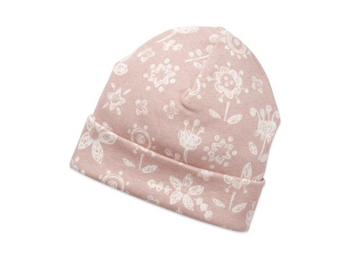 Newborn Baby Girl Hat, Toddler Girl Hat, Pink Baby Hat for Girls, Baby Girl Beanies, Baby Girl Caps, Pink, Flower Girl Hat, Rose, Tesababe