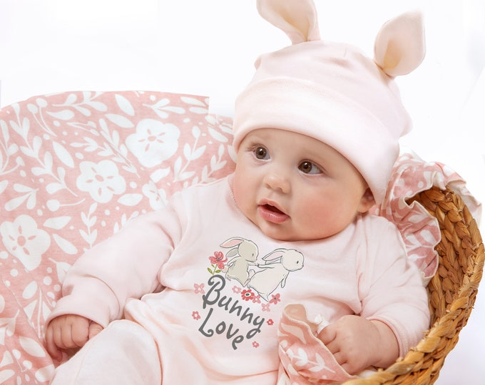 Easter Baby Girl Set, Newborn Bunny Romper, Baby Love Romper, Toddler Girl Romper, Infant Pink Onesie with Bunny Hat, Tesa Babe