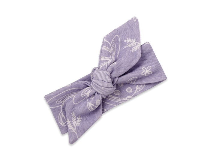Baby Girl Headband, Newborn Girl Purple Headband, Infant Baby Bow Headband, Baby Bow, Purple, Floral TesaBabe SS19-2