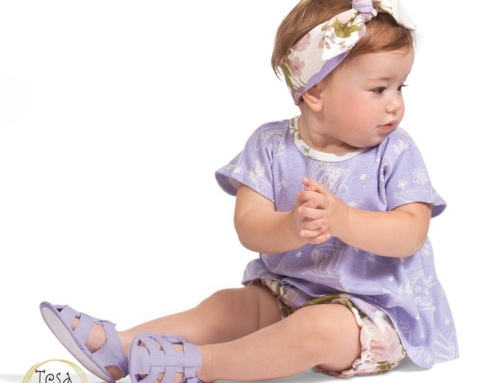 Baby Girl Outfit, Newborn Girl Top Shorts Purple Flower Set, Girl Bloomers, Spring, Toddler Girl 3 6 9 12 18 Month Clothes TesaBabe SS19-2