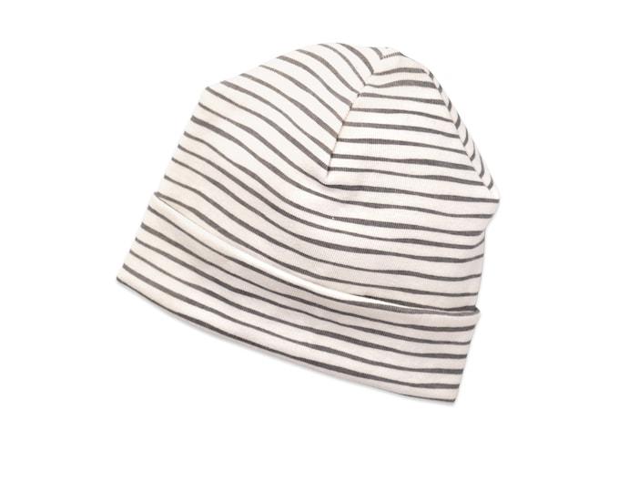 Newborn Baby Neutral Hat, Newborn Baby Striped Hat, Baby Hat Girls, Baby Boy Beanies, Baby Girl Boy Hats Gray Stripes Tesa Babe