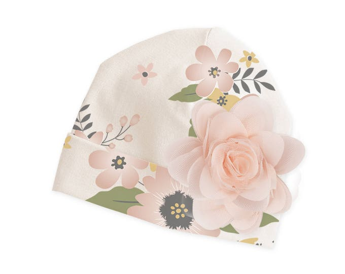 Newborn Pink Floral Hat with Rose, Summer Newborn Baby Hat, Spring Baby Hat for Girls, Baby Boy Beanies, Baby Girl Beanies Tesababe