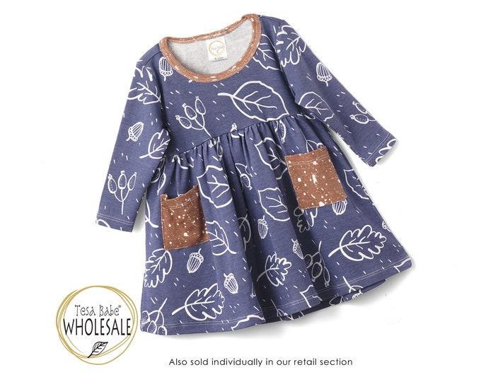 WHOLESALE Baby Girl Dress, Baby Girl Fall Dress, Baby Girl Autumn Dress, Thanksgiving Baby Dress, Baby Girl Dress Long Sleeve TesaBabe