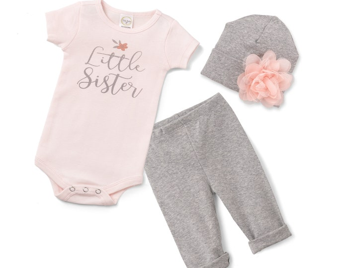 Little Sister Coming Home Outfit, Newborn Sister Hospital Outfit, Baby Little Sister Set, Baby Girl Take Home Outfit, Sister Tesa Babe