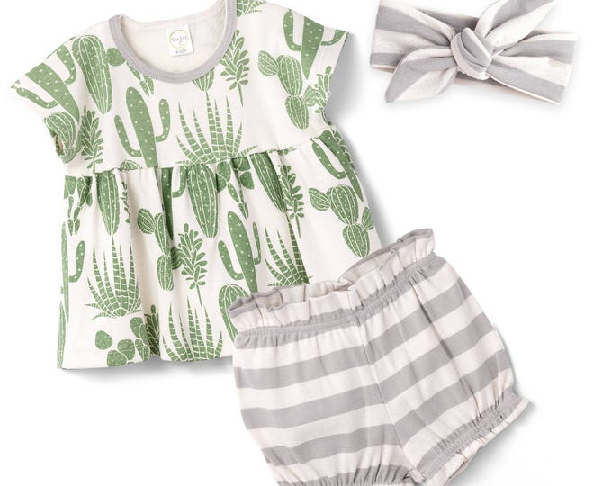 SALE! Baby Girl Bloomer Outfit, Baby Girl Cactus Bloomers Outfit, Newborn Girl Green Cactus Baby Bloomers, Baby Girl Cactus Outfit Tesa Babe