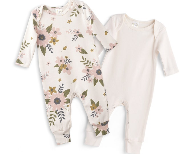 Newborn Rompers Ivory and Meadow Flowers Set of 2, Newborn Take Home Outfit, Baby Girl Clothes, Baby Girls Outfit, Tesa Babe