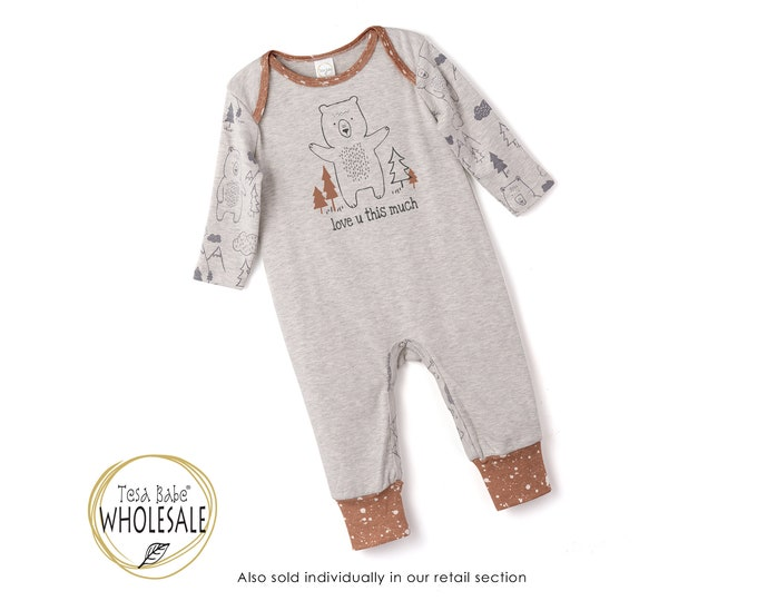 BABY WHOLESALE Baby Onesie Bear Outfit, Newborn Baby Boy Outfit, Baby Bear Romper, Baby Gray Bodysuit, Infant Baby Romper, Bears, Tesa Babe