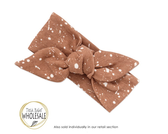 WHOLESALE Baby Girl Headband, Newborn Girl Headband, Infant Baby Bow Headband, Brown Baby Bow Headband, Pecan Brown Floral Baby Bow TesaBabe