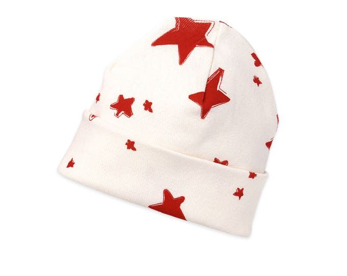 SALE 50% Off! Newborn Red Stars Hat, Star Newborn Baby Hat, Baby Hat for Girls, Baby Boy Beanies, Baby Girl Beanies, Stars, Tesababe