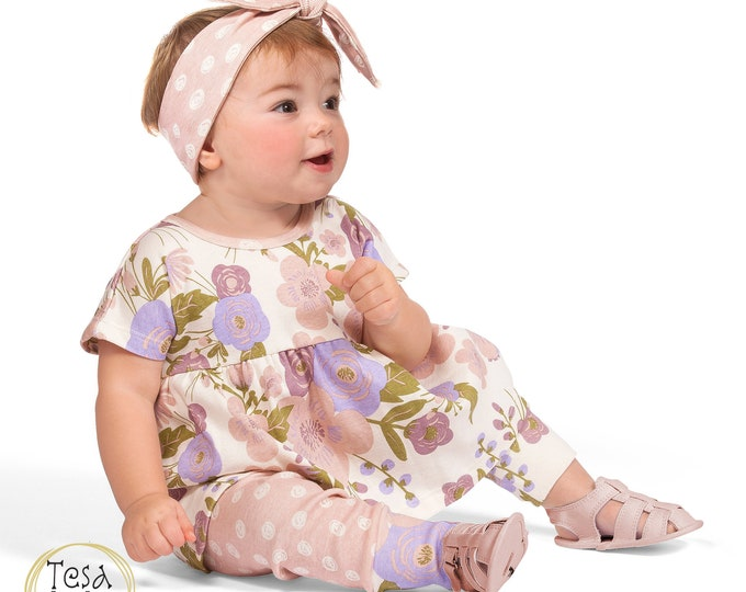 Baby Girl Outfit, Toddler Pink Flower Set, Newborn Girl Clothes Toddler Leggings, Spring Baby Girl 3 6 9 12 18 Month Clothes TesaBabe SS19-1