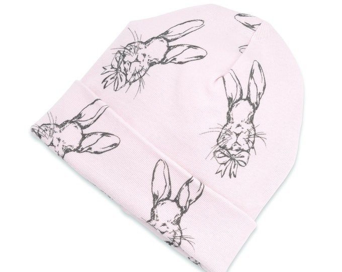 WHOLESALE Ships 1/15/19, Easter Newborn Baby Girl Bunny Hat, Newborn Baby Hat, Pink Baby Hat Girls, Baby Girl Cap, Pink Easter Tesababe