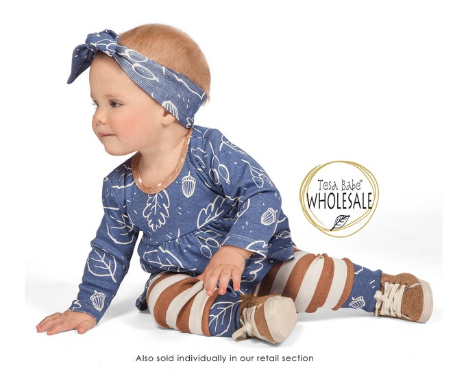 WHOLESALE Baby Girl Outfit, Baby Girl Blue Top Bottom Long Sleeve Outfit, Baby Girl Leggings, Newborn Girl Outfit, Baby Girl Set TesaBabe