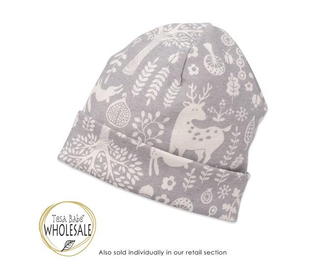 WHOLESALE Newborn Baby Girl Hat, Newborn Baby Hat, Baby Hat for Girls, Baby Girl Beanies, Baby Girl Caps, Gray Forest, Tesababe