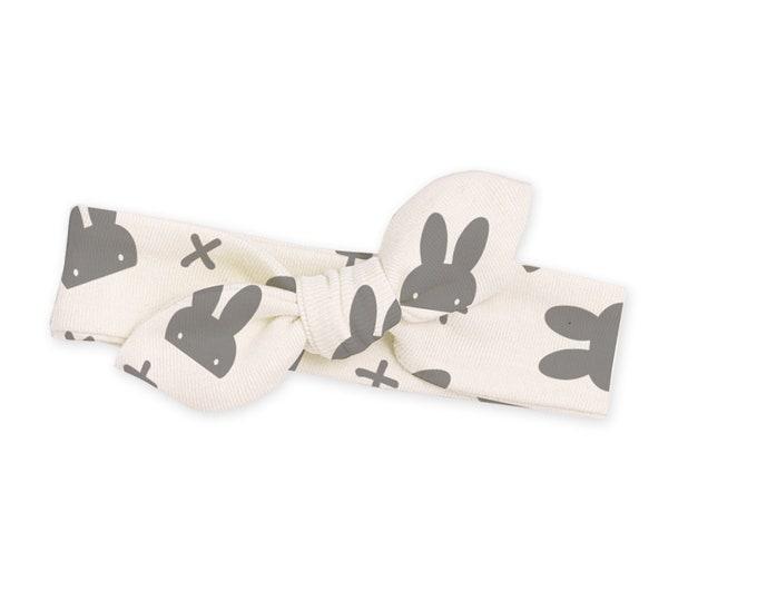 EASTER SALE! Easter Baby Girl Headband, Infant Baby Bow Bunny Headband, Toddler, Grey Bunnies, Easter Bunny Baby Bow Ivory, TesaBabe