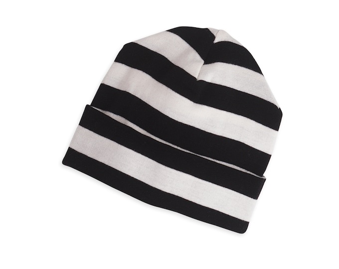 Baby Hat, Newborn Baby Hat, Unisex Black Striped Baby Hat, Black Striped Baby Hat, Boy Girl Beanie, Newborn Black Striped Baby Hat TesaBabe