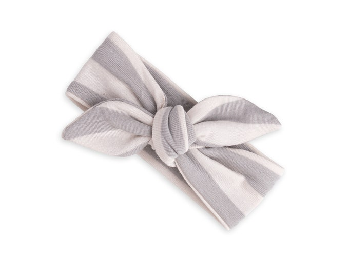 Newborn Headband Bow, Baby Girl Headband, Newborn Baby Headwrap, Toddler Headband, Toddler Clothes, Baby Girl Clothes, Gray Stripe Tesababe