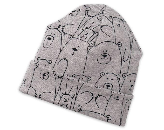 Newborn Baby Boy Hat, Newborn Baby Bear Hat, Bears, Toddler Baby Hat Boys Girls, Baby Boy Beanies, Baby Girl Boy Hats Gray Bears Tesa Babe