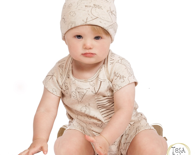 Baby Boy Shorts Jumpsuit Romper, Safari Baby Boy Short, Toddler Boys, Baby Brown Tan Camp Set, Boy 3 6 9 12 18 Month Outfit Tesa Babe SS19-5