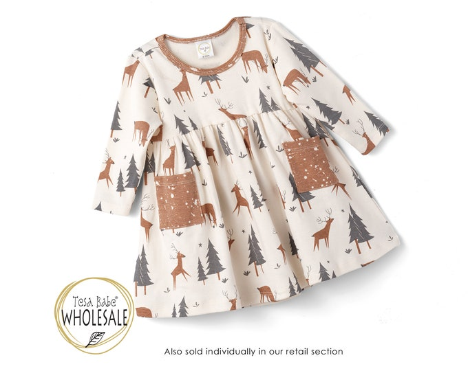 WHOLESALE Fall Baby Dress, Baby Girl Woodland Dress, Baby Woodland Dress, Holiday Baby Dress, Baby Girl Dress Toddler Clothes TesaBabe