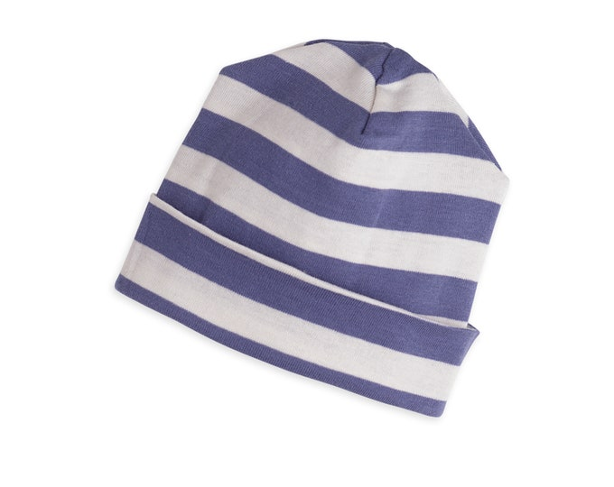 Baby Boy Hat, Newborn Blue Striped Baby Hat, Newborn Beanie Blue Stripes, Unisex Baby Hat, Baby Neutral Hat, Blue Stripes, TesaBabe