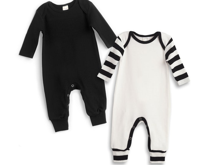 Newborn Baby Rompers Black White Set of 2, Baby Boy Take Home Outfit, Infant Baby Clothes, Baby Neutral Clothes, Baby Girl, Tesa Babe