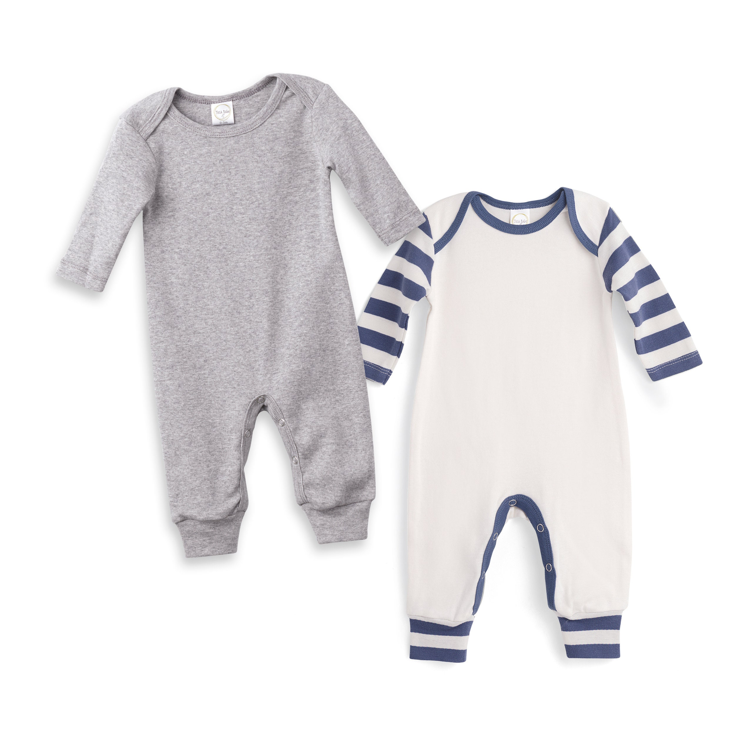 0cce1e21e245 Newborn Romper Grey and Blue Striped