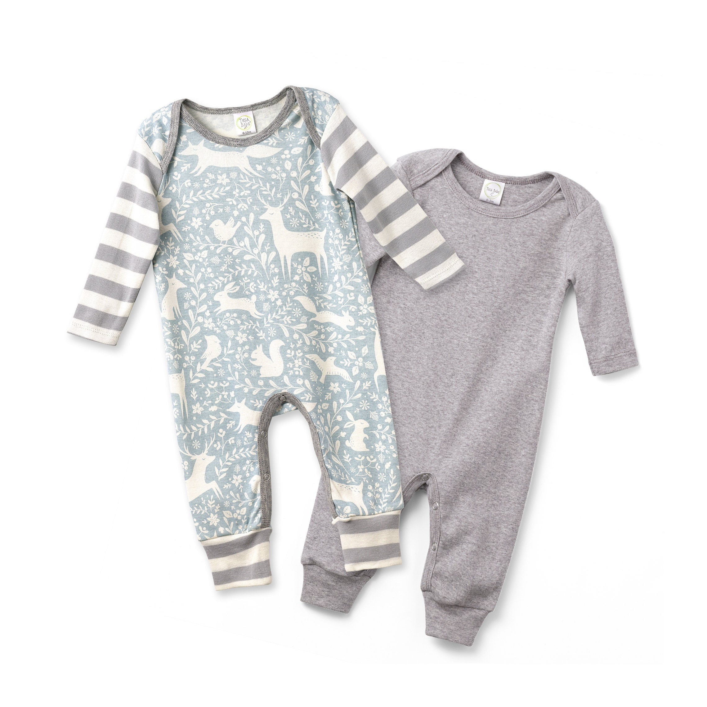 efb17dc2d610 Newborn Rompers Grey and Woodland Animal Set of 2