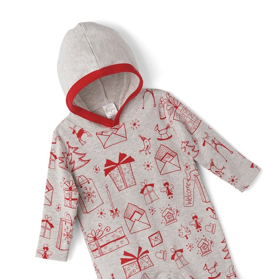 8e5f658705f4 Baby Christmas Hoodie Holiday Baby Hoodie Romper Newborn