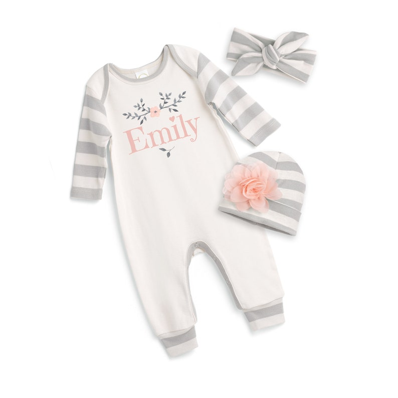 21b8340ab Personalized Newborn Girl Coming Home Outfit Newborn Baby