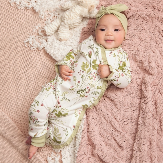 Baby Girl Coming Home Romper Toddler Pink Floral Romper Infant Hospital Gift Gown Tesababe Girl Roses Kimono Romper