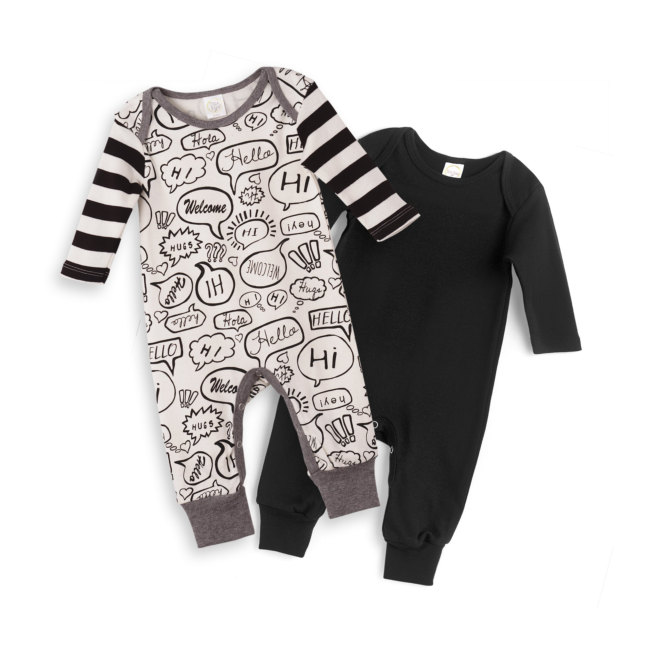 e767ab9efa0 Newborn Baby Rompers Black   Hello World Set of 2