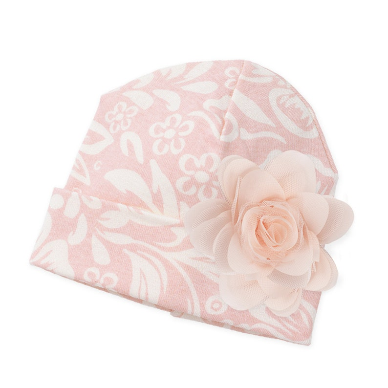 fa52de518d39 Newborn Girl Hat Baby Girl Hat with Rose Pink Baby Girl Hat
