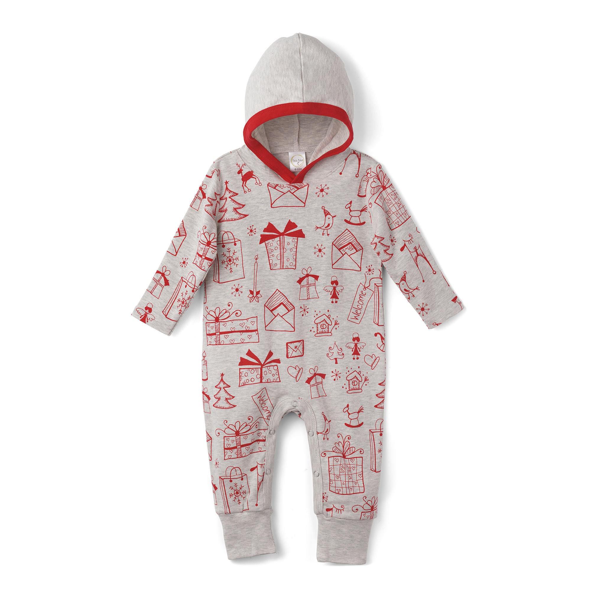 Baby Christmas Hoodie, Holiday Baby Hoodie Romper, Newborn Christmas ...