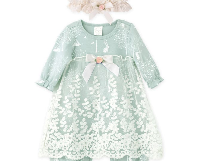 Baby Girl Lace Dress, Newborn Girl Outfit, Baby Girl Onesie Skirted Romper Floral, Baby Girl Romper Lace Headband, Christening Tesa Babe